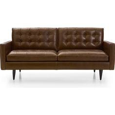 Shop Petrie Leather Apartment Sofa.   Now a Crate and Barrel classic, the pure 1960s aesthetic of this compact sofa scaled for apartment living lets you sit deep, firm and upright, but also slouch back in comfort.