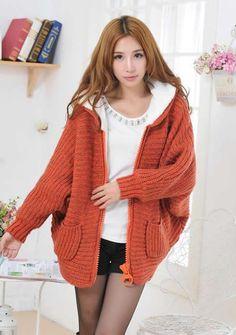 Loose Bat-wing Sleeve Ladies Hood Thick Orange Knitting Sweater One Size @YIF11601o
