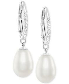 Swarovski Silver-Tone Crystal Pearl Drop Earrings | macys.com