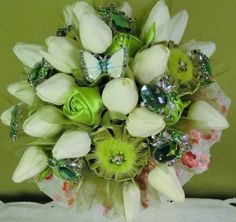 French Cottage Garden Jeweled Bouquet by HeirloomsInElegance