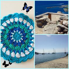 mandalainspirasjon - liten mandala brikke ca 13 cm i diameter - inspirasjon fra hav, luft og lys . Gratis oppskrift ! Beach Mat, Mandala, Sweet Home, Outdoor Blanket, Crochet, Design, Fantasy, Lily, Threading