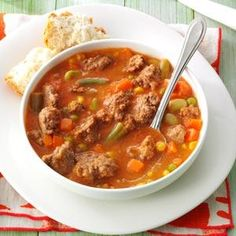 Tomato Hamburger Soup Recipe -As a full-time teacher, I only have time to cook from scratch a few nights each week. This recipe makes a big enough batch to feed my family for 2 nights. - Julie Kruger, St. Cloud, Minnesota