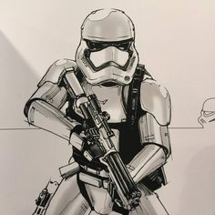 From Dominic Jones: First Order Stormtrooper concept sketch from #TheForceAwakens at the Evolution of a Stormtrooper exhibit at the #D23Expo #StarWars