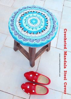 A #Crochet Mandala Stool Cover That Adds A Fun Touch! - creative jewish mom