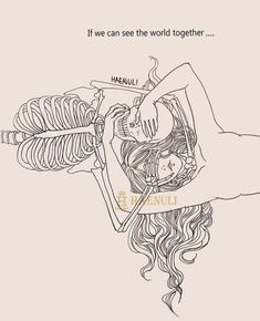 Nosotros si podemos ver el mundo junto... Dark Art Illustrations, Dark Art Drawings, Easy Drawings, Illustration Art, Skeleton Drawings, Skeleton Art, Haenuli Shin, Beautiful Dark Art, Sad Art