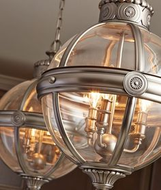 Vintage Orb Style Antique Nickel and Glass Chandelier
