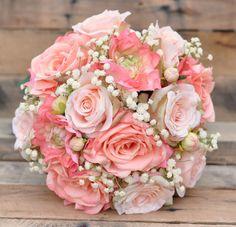 Peach Rose Wedding Bouquet Silk Flower by Hollysflowershoppe Silk Wedding Bouquets, Bridesmaid Bouquet, Purple Bouquets, Pink Bouquet, Flower Bouquets, Wedding Dresses, Wedding Flower Design, Wedding Flowers, Wedding Rings