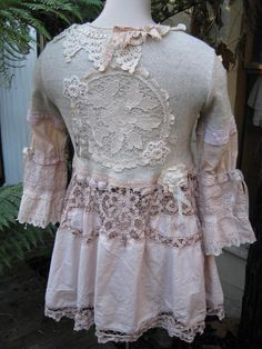 Handmade Tea Coat. Made from a batternburg pieces, old lace, crochet pieces and fabric roses. This item sold for over 250.00 can be made for under 50.00. So retro yet so cute