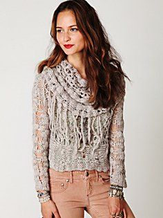 Cowl Neck Fringe Pullover - Nude shades & red lips work!