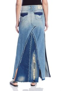 Amazon.com: True Religion Women's Pieced Denim Skirt In Indigo Haze Destroyed: Clothing