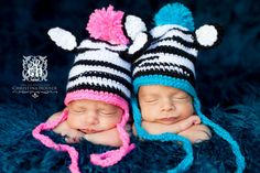 Crochet Zebra Hats