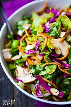 Lighter Chinese Chicken Salad, very good!!!! Tried it tonight except I didn't add chili stuff cause I didn't have it. Excellent without
