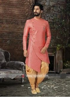 Stylish Round Neck Indo W estern. Mens Indian Wear, Mens Ethnic Wear, Indian Groom Wear, Indian Men Fashion, Mens Fashion Suits, Fashion Fashion, Fashion Outfits, Sherwani For Men Wedding, Wedding Dresses Men Indian