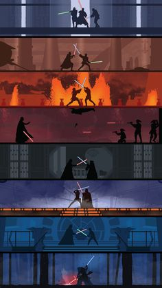 A poster showing the various lightsaber battles in the Star Wars movie series. The poster has a very clean design to it with limited details on the figures to make them stand out more against their more detailed backgrounds. Star Wars Film, Star Wars Poster, Nave Star Wars, Star Wars Fan Art, Star Trek, Star Wars Stormtrooper, Star Wars Rebels, Marvel, Tableau Star Wars