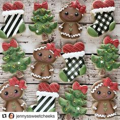 Gingerbread, Christmas Trees and Black & White Plaid and Stripes Stockings Christmas Cookies Fancy Cookies, Iced Cookies, Royal Icing Cookies, Cookies And Cream, Gingerbread Cookies, Sugar Cookies, Christmas Cookies, Christmas Gingerbread, Cake Icing