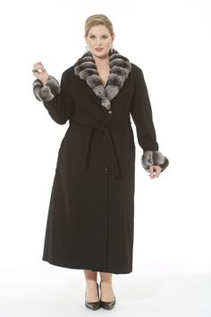 Find Madison Avenue Mall Plus Size Cashmere Coat Women Black - Chinchilla Trim online. Shop the latest collection of Madison Avenue Mall Plus Size Cashmere Coat Women Black - Chinchilla Trim from the popular stores - all in one Over 60 Fashion, 50 Fashion, Plus Size Fashion, Fashion Ideas, Plus Size Coats, Plus Size Sweaters, Date Outfits, Coat Outfit, White Fur Coat