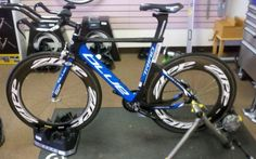"""Her name is """"Nauti"""" and she is my awesome Blue Triad SP tri bike."""