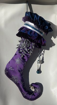 purple jester christmas stocking by threadbanger2012 on etsy 6999 christmas sewing christmas shoes