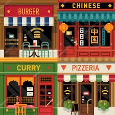 Cool set of vector detailed flat design restaurants facade icons. Burger, Chinese food, Indian curry and Italian pizzeria fronts. Ideal for restaurant business web publications and graphic design Restaurant Font, Modern Restaurant Design, Restaurant Facade, Chinese Restaurant, Shop Front Design, Store Design, Template Menu, Logo Templates, Design Plat