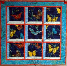 Flutter-by wall hanging quilt by Christine Gaunt (PDS) and Jan McKenna Cathedral Window Quilts, Attic Window Quilts, Quilting Projects, Quilting Designs, Fabric Panel Quilts, Butterfly Quilt, Quilted Throw Blanket, Landscape Quilts, Quilted Wall Hangings