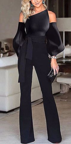 Black Jumpsuit - Black Jumpsuit Solid color off-the-shoulder puff sleeves jumpsuit, long sleeves design and short - Jumpsuit With Sleeves, Black Jumpsuit, Elegant Jumpsuit, Short Jumpsuit, Classy Outfits, Chic Outfits, Look Fashion, Womens Fashion, Fashion Tips