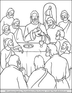 the 5th luminous mystery coloring page the institution of the eucharist