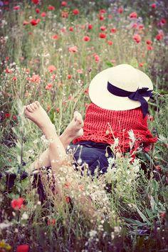 Girl in a poppy field postcard by allthebeauty on Etsy