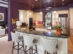 Kitchen , Ideas Of Paint Colors For Kitchen : Paint Colors For Kitchen With Purple Wall Color And Double Island With Marble Countertop And White Cabinets And Silver Refrigerator Purple Kitchen Walls, Paint For Kitchen Walls, Kitchen Paint Colors, Purple Walls, Kitchen Dinning, Kitchen Decor, Kitchen Ideas, Dining Room, Grey Kitchens
