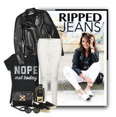 """""""Ripped jeans2"""" by budding-designer ❤ liked on Polyvore featuring Givenchy, Frame Denim, Fendi, Bebe, Chanel and Oliver Peoples"""
