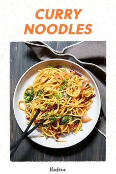 Spice up store-bought pasta with coconut milk, red curry paste and stir-fried veggies for this delicious curry noodle dish. #curry #noodles #recipe Easy Thai Recipes, Noodle Recipes, Pasta Recipes, Beef Recipes, Curry Recipes, Recipies, Easy Vegetarian Dinner, High Protein Vegetarian Recipes, Veggie Fries