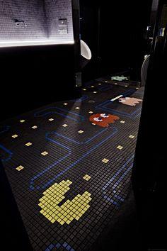 Pac Man Bathroom Mosaic Tile at Ground Kontrol Classic Arcade in Portland Oregon Man Bathroom, Mosaic Bathroom, Mosaic Tiles, Bathrooms, Deco Gamer, Gaming Lounge, Arcade Room, Workshop Organization, Garage Organization