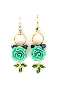 Turquoise Rose Dangles on Emma Stine Limited