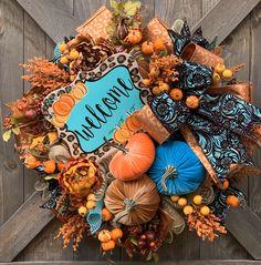 Items similar to Fall Wreath - Autumn Wreath - Multicolor Wreath - Weatherproof Wreath - Indoor Outdoor Wreath - Door Wreath - Outdoor Wreath - Leaves Wreath on Etsy Thanksgiving Wreaths, Autumn Wreaths, Thanksgiving Decorations, Wreath Fall, Grapevine Wreath, Christmas Wreaths, Christmas Decorations, Thanksgiving Ideas, Door Wreath