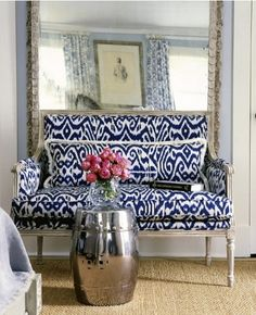 This is a crisp Ikat print. Love the light in the room.