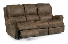 """FLEX STEEL Miles reclining sofa (also have a love seat) in Nuvo Leather.  Power sofa $1600 +, power love seat $1500+ ($1380, $1320 w/o power) Sofa 81"""" x 41"""", LS 60"""" x 41"""""""