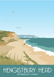 Modern picture of Hengistbury Head Dorset. Drawn in style of Railway Posters Posters Uk, Railway Posters, Poster Prints, Art Prints, Beach Posters, Retro Posters, Bournemouth, Travel Illustration, Digital Illustration