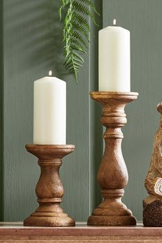 Turned candle sticks in a wood effect finish, suitable for pillar candles (candles included). Candles, Turned Candlesticks, Wooden Candle Stand, Wood Turning, Wood Candles, Wood Candle Sticks, Turned Candle Holders, Candle Stand, Pillar Candles