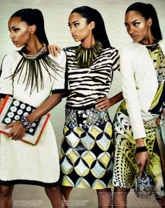 """Anais Mali, Jasmine Tookes & Jourdan Dunn in ""Feminine Mystique""Photographed by Emma Summerton and Styled by Giovanna Battaglia and for W Magazine, March 2012 "" by eula.snow"
