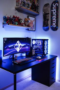 Best Gaming Chairs 2019 What makes this setup so clean? Gaming Computer Setup, Best Gaming Setup, Gamer Setup, Gaming Room Setup, Pc Setup, Desk Setup, Gaming Chair, Hippie Bedroom Decor, Bedroom Setup