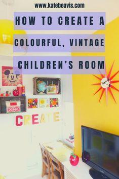 A colourful, vintage children's room - Kate Beavis Vintage Expert Teenage Girl Bedrooms, Teenage Room, Boy Bedrooms, Vintage Room, Vintage Tins, Ikea Units, Vintage Children, Room Inspiration, Kidsroom
