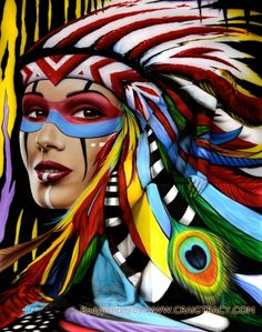 Bodypainting Artwork of a Beautiful Native American Woman.