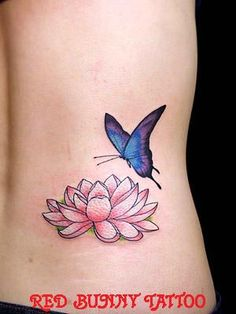 Lotus Flower and Butterfly Tattoos | Flower/butterfly(花と蝶)「吉祥寺 RED BUNNY TATTOO/赤兎刺青 ...