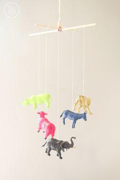 DIY Plastic Animal Mobile