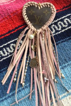 Authenic Louis Vuitton upcycled fringed heart dream catcher bag charm key fob in Blush Pink! Long fringe!