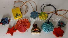 Colgantes de cerámica - diferentes modelos, realizados a mano