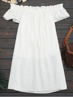 Off Shoulder Ruffled Mini Casual Dress (White) Off Shoulder Casual Dress, Casual Dresses, Short Dresses, Casual Clothes, Short Frocks, Teen Fashion Outfits, Fashion Clothes, White Fashion, White Dress