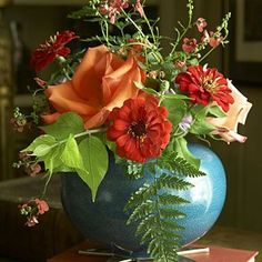 images of aqua and orange home decor | Orange Flowers & Turquoise Vases: Elegant and Easy