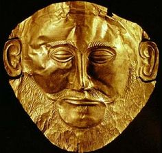 This one of the gold death masks that Schliemann found with excavating Mycenae. Schliemann believe that this was Agamemnon's death mask, but there is no actual proof that it is.