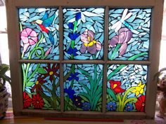 Linda shared this recycled window frame that she turned into a beautiful mosaic window using stained glass and No Days Mosaic Adhesive.