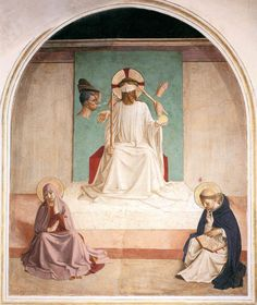 """ordopraedicatorum:  The Mocking of Christ - Bl. Fra Angelico""""And they blindfolded him, and smote his face. And they asked him, saying: Prophesy, who is it that struck thee?"""""""